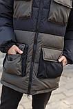 Мужская зимняя куртка-пуховик черная с серым, фото 6