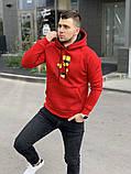 Мужской теплый худи kрасный Барт с флисом, фото 2