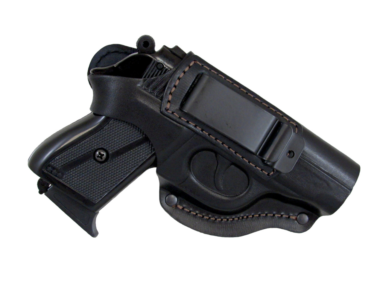 Кобура поясная ПГШ-790 формованная с клипсой (кожа, чёрная)