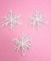 Снежинки белые большие 1 уп-3шт(пластик),d-10см, фото 1
