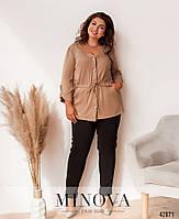Повседневный брючный костюм с удлиненной блузой, на талии шнурок с 50 по 56 размер, фото 6