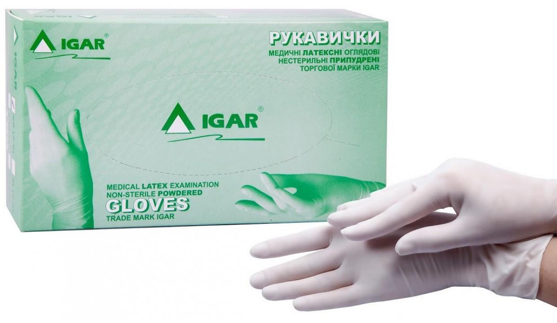 Перчатки латексные Igar  XS нестерильные опудренные (50 пар/уп)