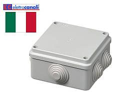 Коробка распределительная IP55 100x100x50 Elettrocanali EC400C4 (навесная, 6 сальников 25мм)