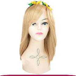 Перука з Натурального Волосся 35 см 110 грам, Світло-Русявий №18