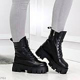 Модельные черные зимние женские ботинки гриндерсы из натуральной кожи, фото 3