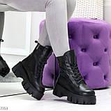 Модельные черные зимние женские ботинки гриндерсы из натуральной кожи, фото 4
