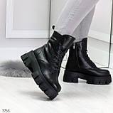 Модельные черные зимние женские ботинки гриндерсы из натуральной кожи, фото 5