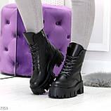 Модельные черные зимние женские ботинки гриндерсы из натуральной кожи, фото 7