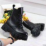 Модельные черные зимние женские ботинки гриндерсы из натуральной кожи, фото 8