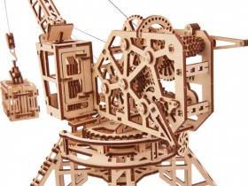 Подъемный кран + контейнер в Wood Trick (172 деталей) - механический деревянный 3D пазл конструктор, фото 2