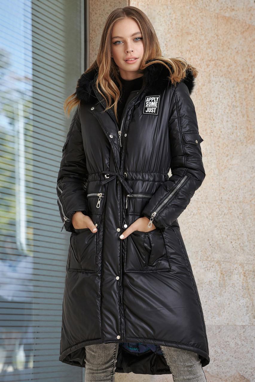 Модная зимняя куртка-парка на тинсулейте, с натуральным мехом S, M, L, XL размер