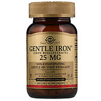 Solgar, Gentle Iron (90 капс.х25 мг), железо бисглицинат, железо хелат