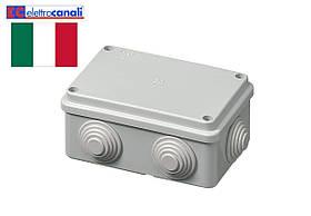 Коробка распределительная IP55 120x80x50 Elettrocanali EC400C4R (навесная, 6 сальников 25мм)