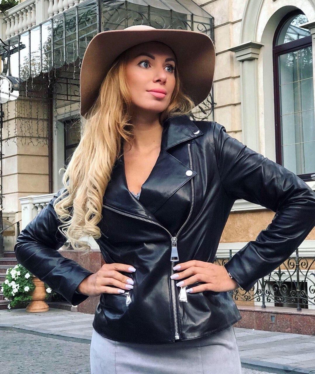Жіноча шкіряна куртка Fabio Monti, подовжена модель, 42 ( 42, 44, 46, 48 ) чорний, шкіра 42
