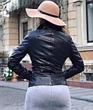 Женская кожаная куртка Fabio Monti, удлиненная модель, 42 ( 42, 44, 46, 48 ) черный, кожа 42, фото 3