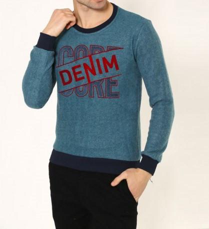 Мужская кофта Denim D9081 сине-зеленая