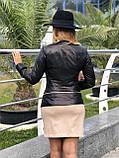 Женская кожаная куртка Fabio Monti, отстегивающийся низ,  42 ( 42, 44, 46, 48 ) черный, кожа 40, фото 5