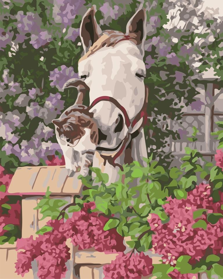 """Картина по номерам """"Лошадь и кот в цветах"""" тм Лавка Чудес 40 x 50 см (в коробке) (LC20146)"""
