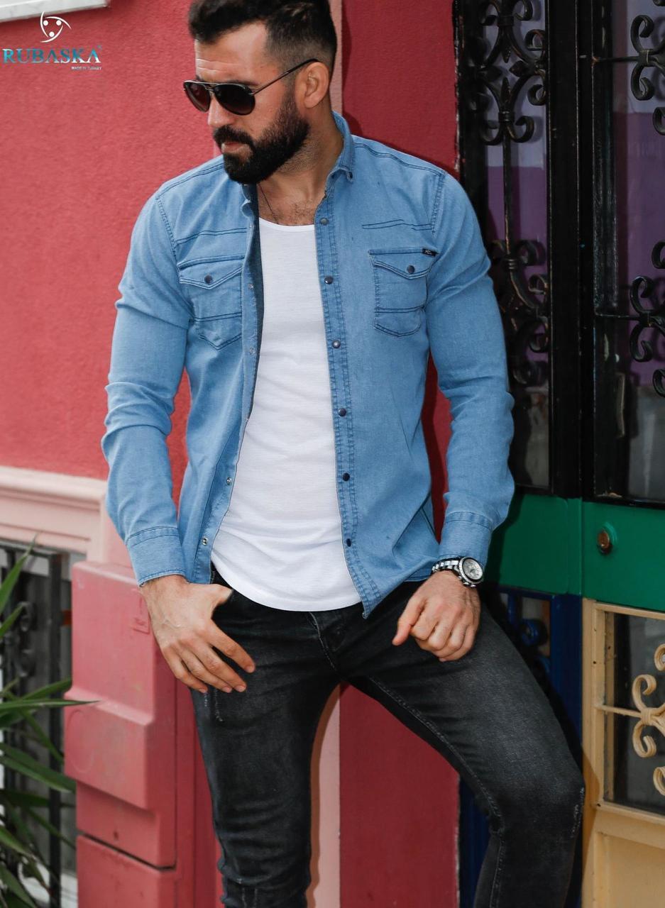 Рубашка мужская джинсовая с длинным рукавом Rubaska  Турция