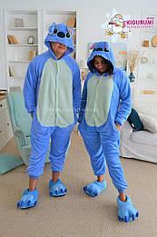 Костюм кигуруми пижама стич синий для взрослых и детей