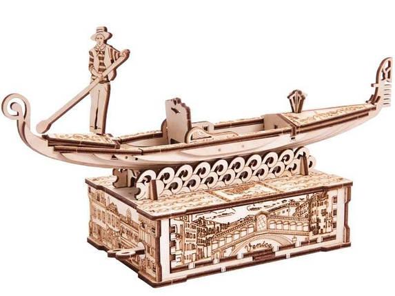Гондола Wood Trick (82 деталей) - механический деревянный 3D пазл конструктор, фото 2