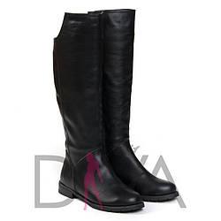 Сапоги женские кожаные демисезонные 9014blackd сапожки зимові