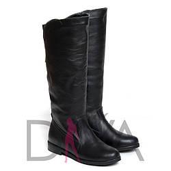 Черные сапоги женские кожаные демисезонные 9005-5blackd распродажа обуви