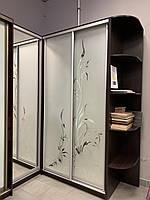 Шкаф купе угловой (1зеркало) 2 матовых рисунка АУ-31 1200*2100*2400мм