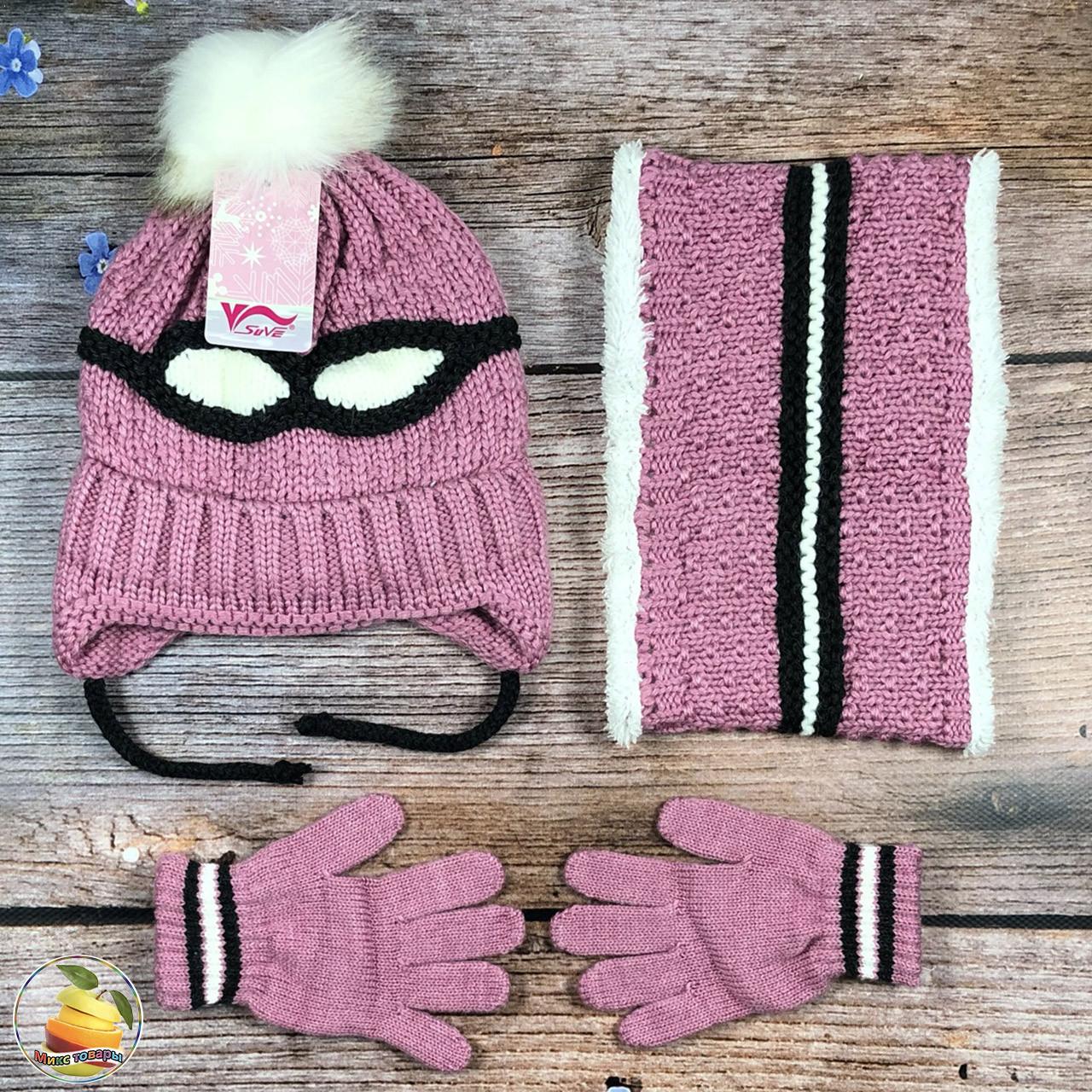 Турецкий набор для ребёнка- шапка, баф и перчатки Размер: 3- 6 лет (21027)
