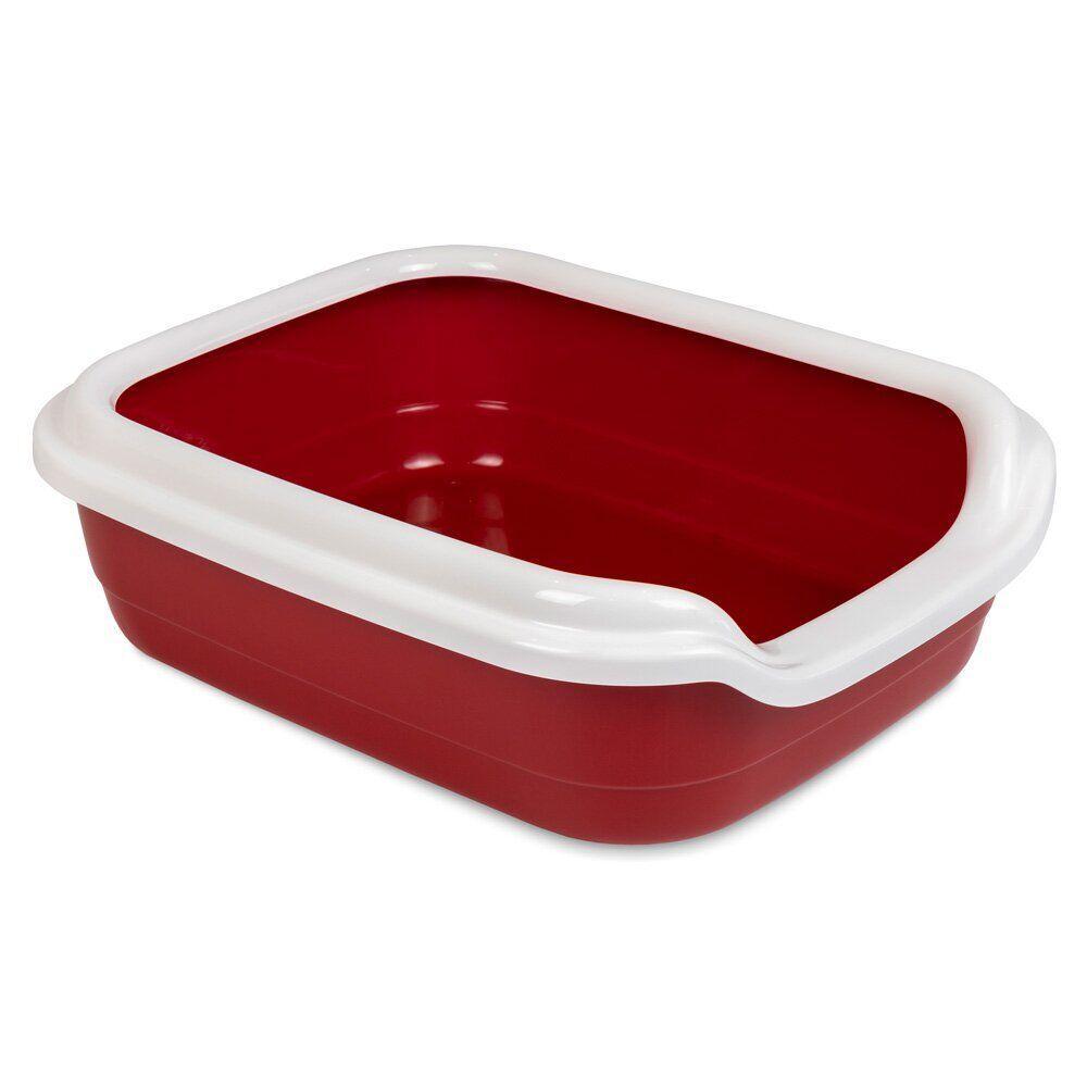 Туалет для кошек Природа с бортиком «Comfort» 39 x 49 x 15 см (пласти, цвет: бордовый)