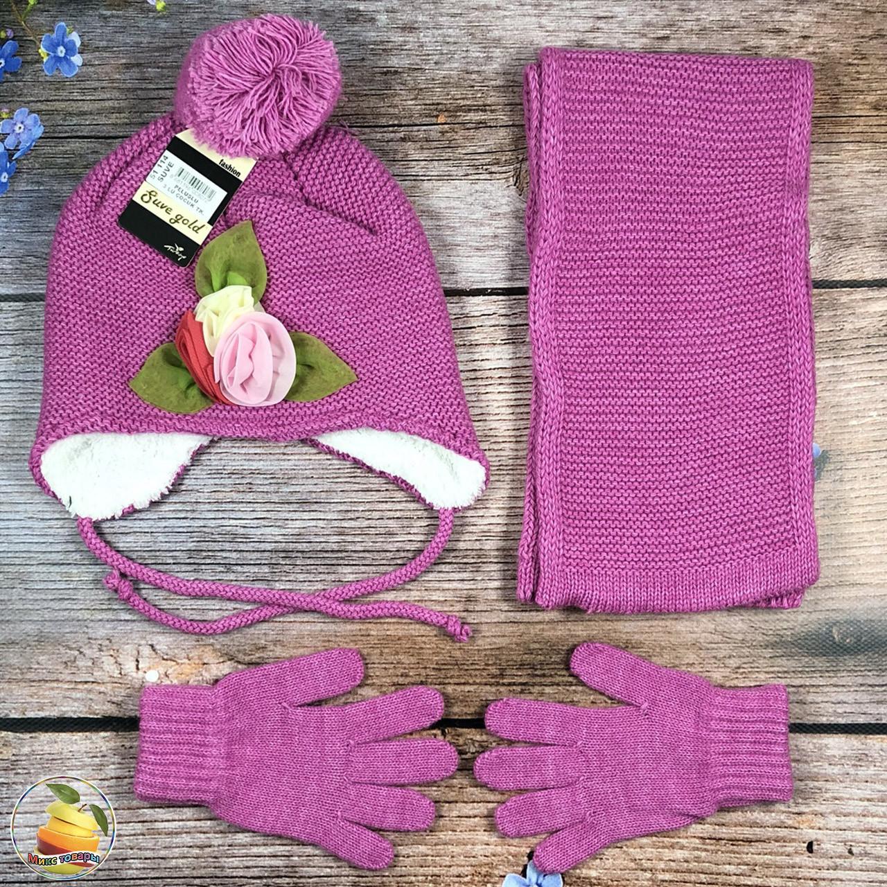 Турецкая шапка на травке, шарф и перчатки для ребёнка Размер: 3- 6 лет (21030)