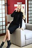 Женское трикотажное полу-приталенное платье миди с длинным рукавом І Батал, фото 4