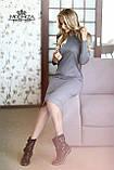 Женское трикотажное полу-приталенное платье миди с длинным рукавом І Батал, фото 5
