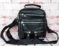 Мужская сумка из натуральной кожи. Черная сумка кожаная. Кожаная барсетка. Планшетка. СП12-1