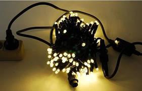 Новогодняя гирлянда светодиодная нить кристалл 300 LED золото. Праздничное освещение для дома и улицы