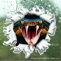 Светоотражающая наклейка для машины 3D змея 30 см. Наклейка на авто, черный, фото 1