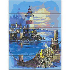"""Картина по номерам на дереве """"Свет маяка"""""""