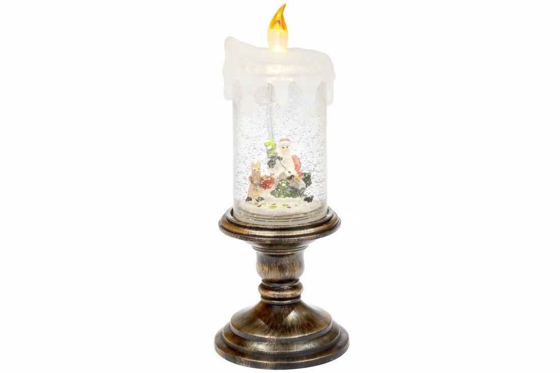 Декоративный фонарь в форме свечи с декором Санта и олень внутри с LED подсветкой 27см, в упак. 1шт. (882-102)