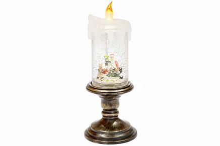 Декоративный фонарь в форме свечи с декором Санта и олень внутри с LED подсветкой 27см, в упак. 1шт. (882-102), фото 2