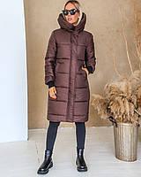 Женское длинное зимнее тёплое пальто одеяло пуховик с глубоким капюшоном и манжетами мокко S M L