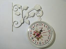 """Настінні вуличні металеві кварцові годинники, в стилі вокзальних """" Букет """"(45 x 38 x 8 см) 3028"""