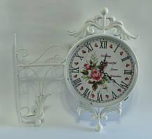 """Настінні вуличні металеві кварцові годинники, в стилі вокзальних """"Букет"""" Ø 23,5 см білі 3005А"""
