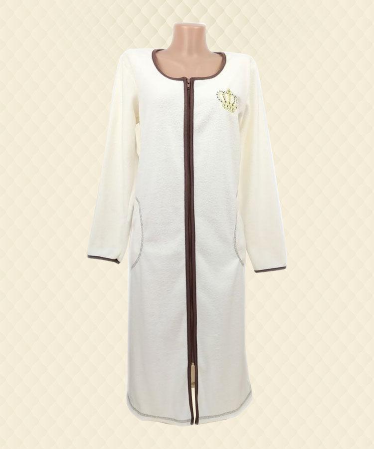 Халат жіночий білий вишивка начесная махра