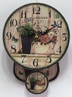 """Годинники настінні кварцові, з маятником в стилі """" Прованс """""""