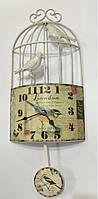 """Настінні металеві кварцові годинники з маятником у стилі """" Пташка в клітці """""""