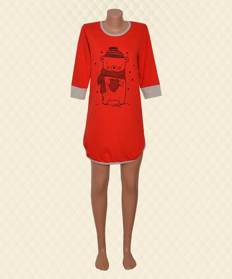 Нічна сорочка Ведмедик червона начіс