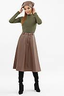 Женская юбка их эко-кожи, утепленная на флисе, (капучино), арт. 62786