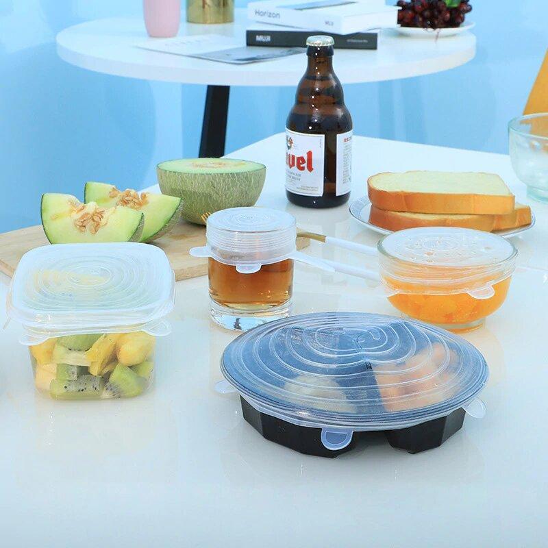 Набор силиконовых многоразовых крышек для хранения продуктов 6 шт.