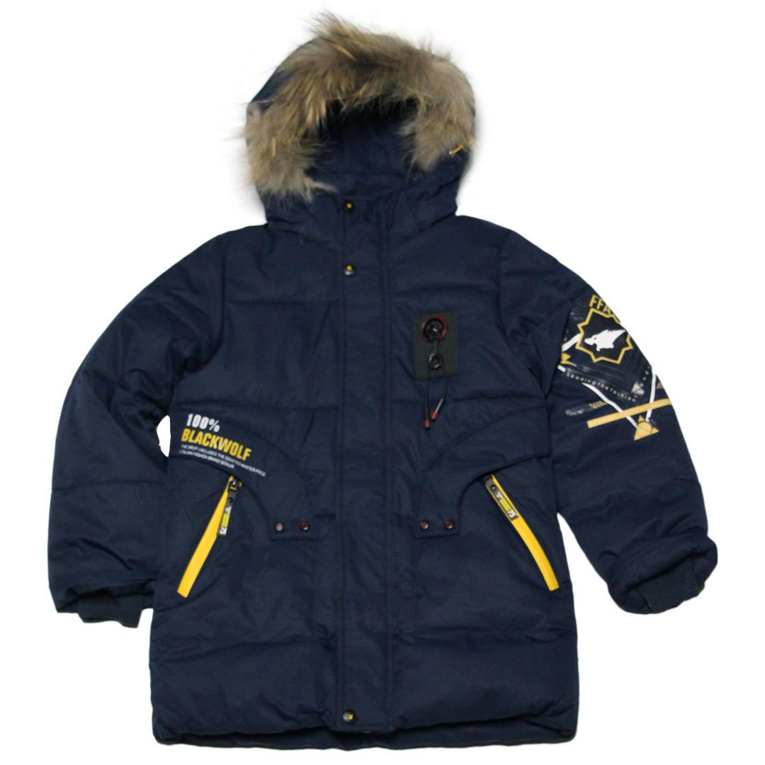 Детская зимняя куртка парка для мальчика 134 рост синяя