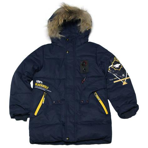Детская зимняя куртка парка для мальчика 134 рост синяя, фото 2